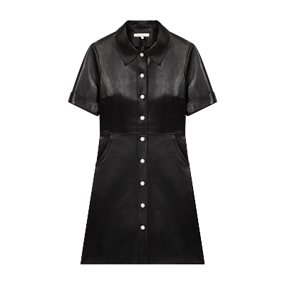 Buttoned leather shirt dress - Spring Pre-Collection - MAJE