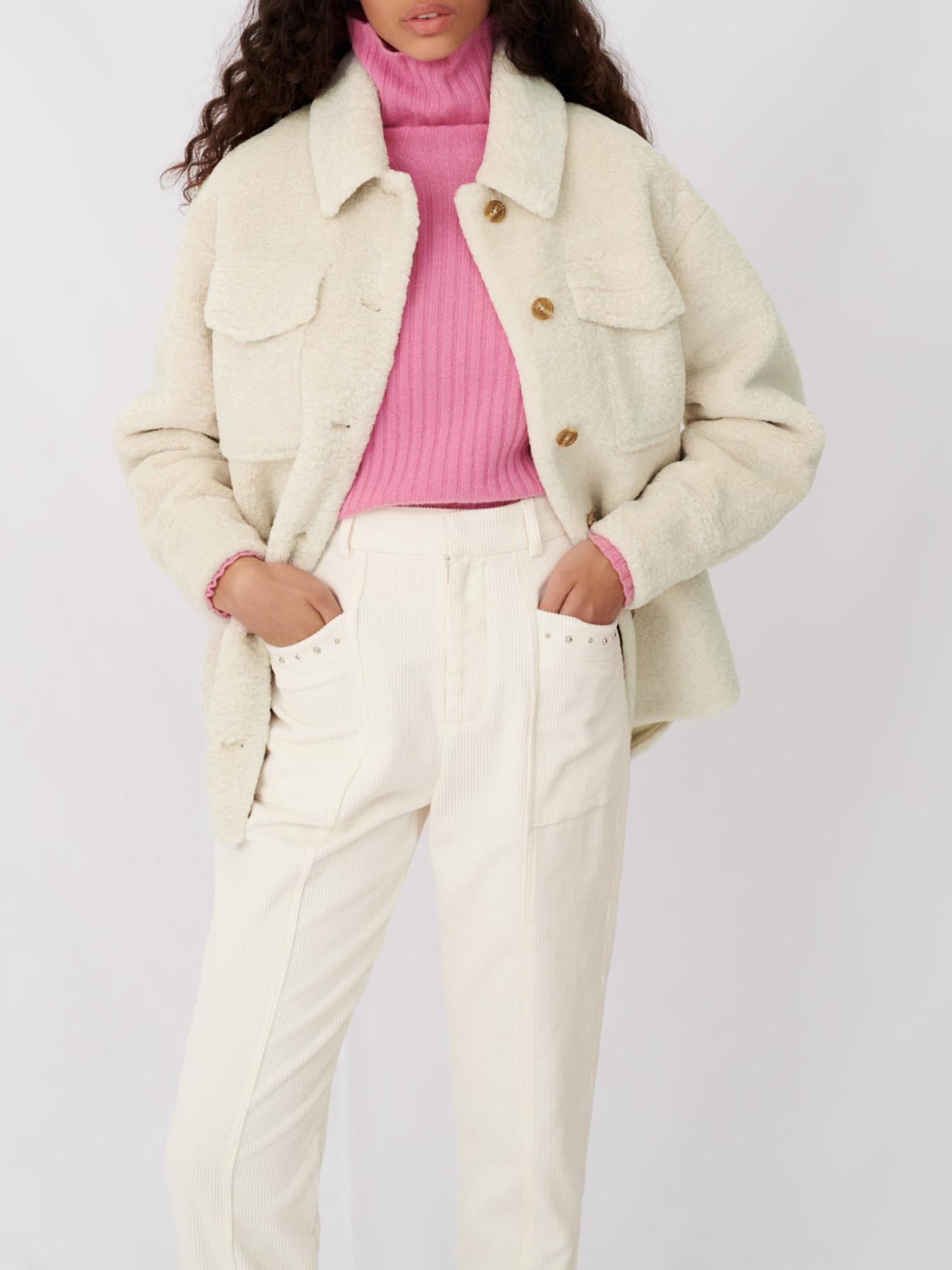 Maje Overshirt-style ecru jacket