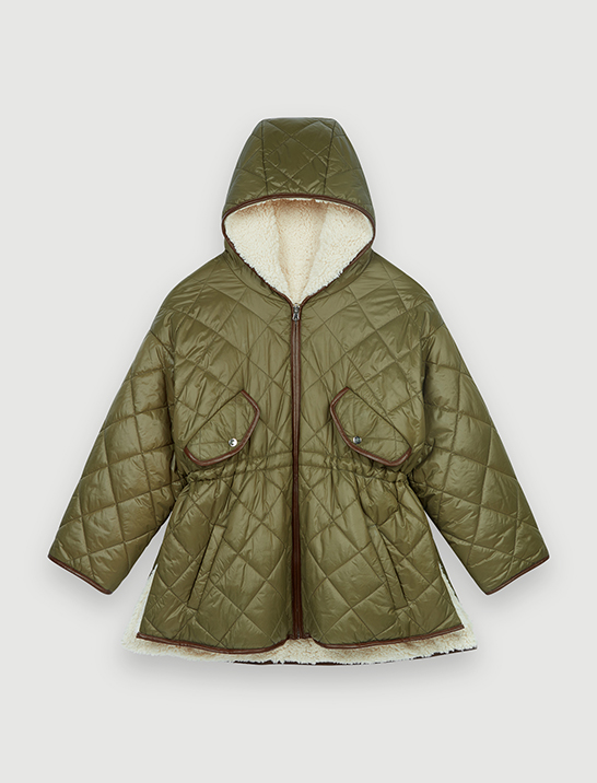 Maje Down jacket with hood and fur-effect