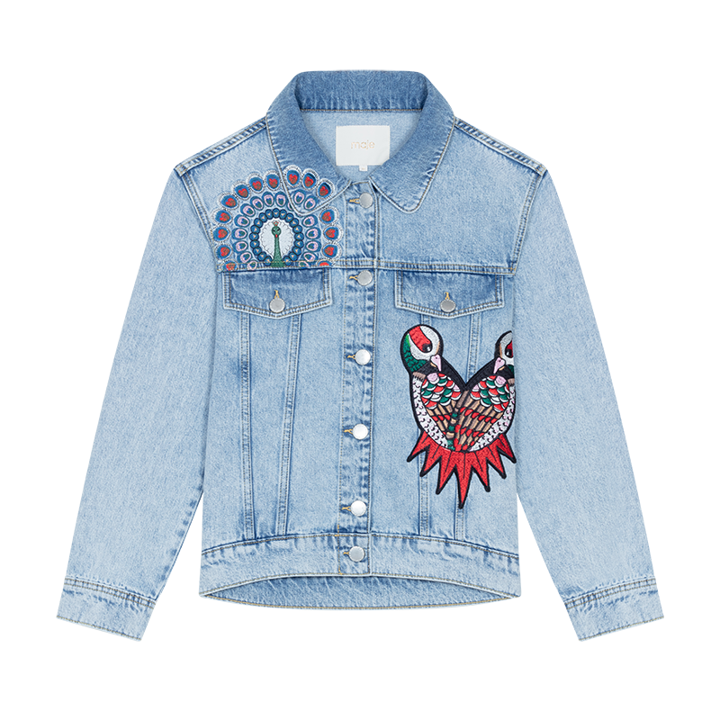 Embroidered denim vest - Coats & Jackets - MAJE