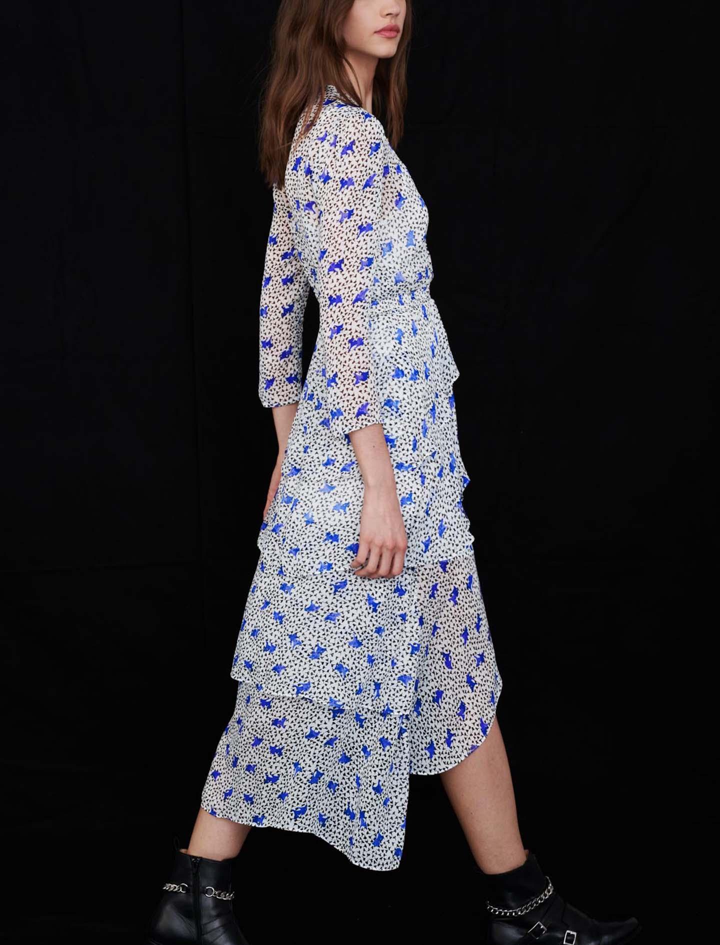 21SS 마쥬 언발 러플 원피스 (손담비 착용) MAJE 221RENCALA Asymmetric dress in printed muslin