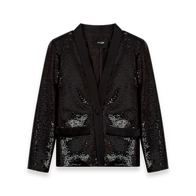 Sequin and satin jacket - Coats & Jackets - MAJE
