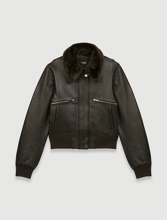 Maje Leather jacket with faux fur collar